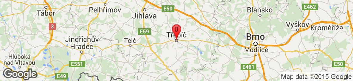 Map of Třebíč, Třebíč District, Vysočina Region, Czech Republic. More detailed map is available only for registered users. Please register or log in.