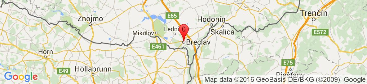 Map of Breclav, Břeclav District, South Moravian Region, Czech Republic. More detailed map is available only for registered users. Please register or log in.