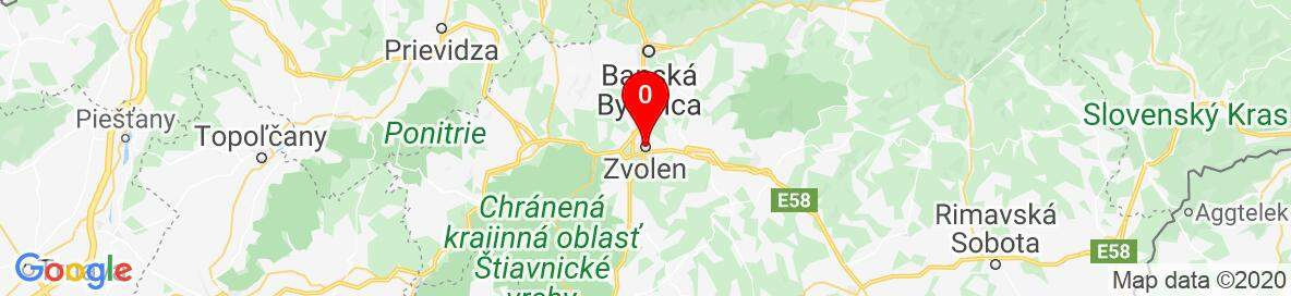 Map of Zvolen, Banskobystrický kraj, Slovensko. More detailed map is available only for registered users. Please register or log in.